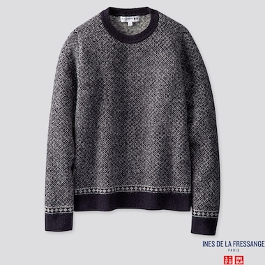 WOMEN JACQUARD CREW NECK SWEATER (INES DE LA FRESSANGE), NAVY, medium