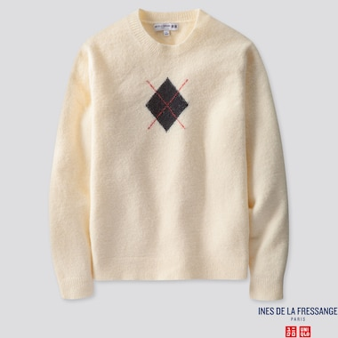 WOMEN ARGYLE CREW NECK SWEATER (INES DE LA FRESSANGE), OFF WHITE, medium