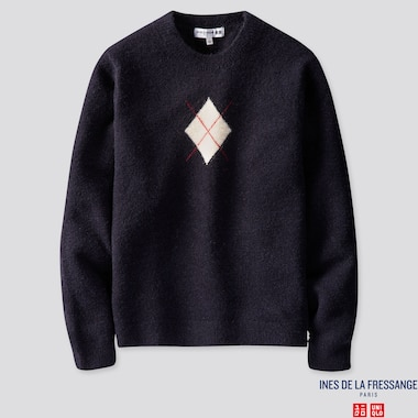 WOMEN ARGYLE CREW NECK SWEATER (INES DE LA FRESSANGE), NAVY, medium
