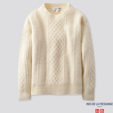 WOMEN MIDDLE GAUGE CREW NECK SWEATER (INES DE LA FRESSANGE), OFF WHITE, medium