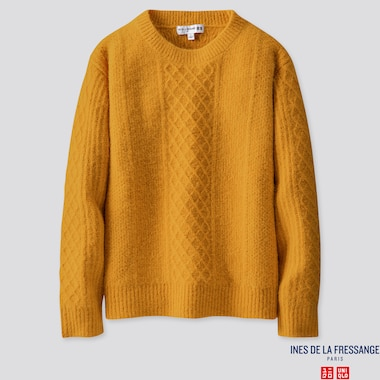 WOMEN MIDDLE GAUGE CREW NECK SWEATER (INES DE LA FRESSANGE), YELLOW, medium