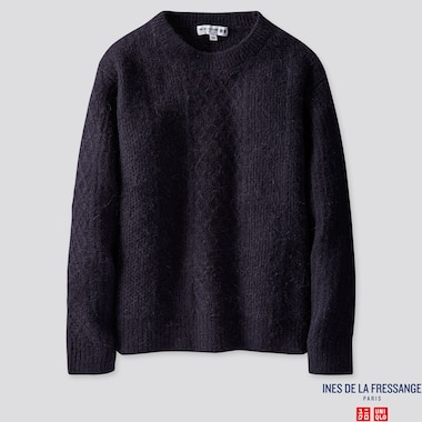 WOMEN MIDDLE GAUGE CREW NECK SWEATER (INES DE LA FRESSANGE), NAVY, medium