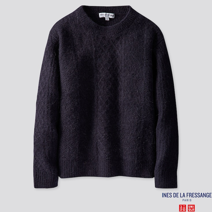 WOMEN MIDDLE GAUGE CREW NECK SWEATER (INES DE LA FRESSANGE), NAVY, large