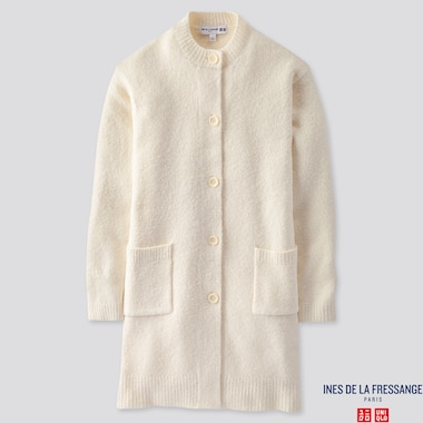 WOMEN MIDDLE GAUGE KNITTED COAT (INES DE LA FRESSANGE), OFF WHITE, medium