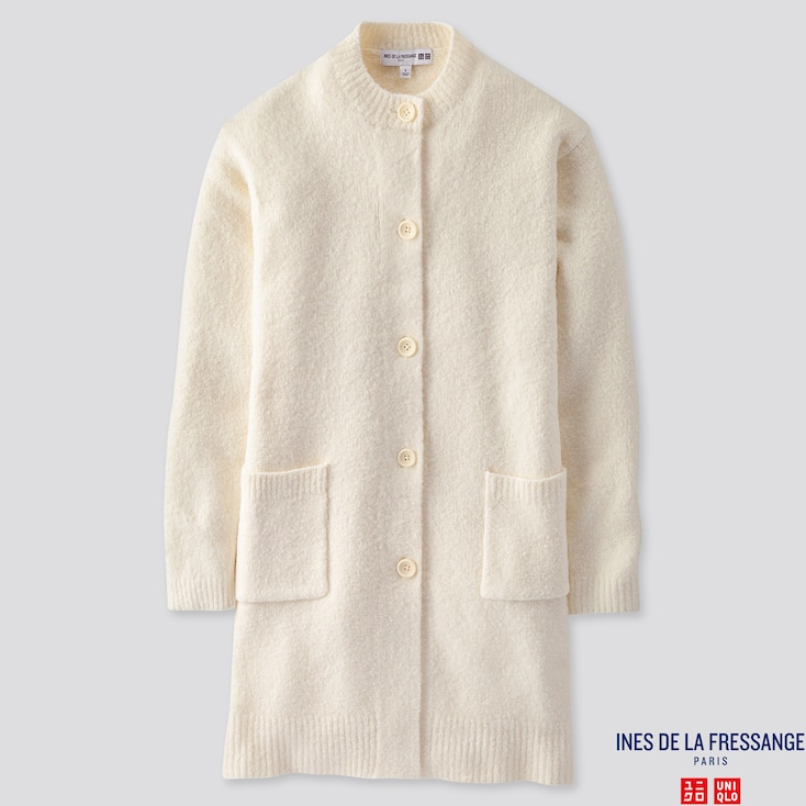 WOMEN MIDDLE GAUGE KNITTED COAT (INES DE LA FRESSANGE), OFF WHITE, large