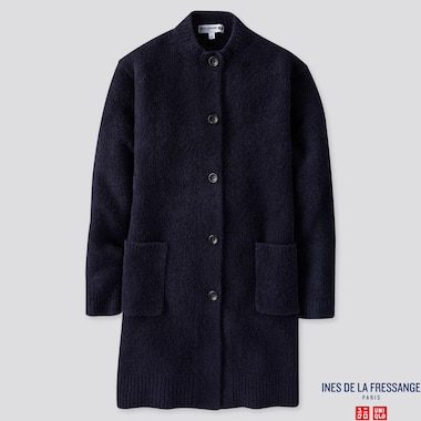 WOMEN MIDDLE GAUGE KNITTED COAT (INES DE LA FRESSANGE), NAVY, medium