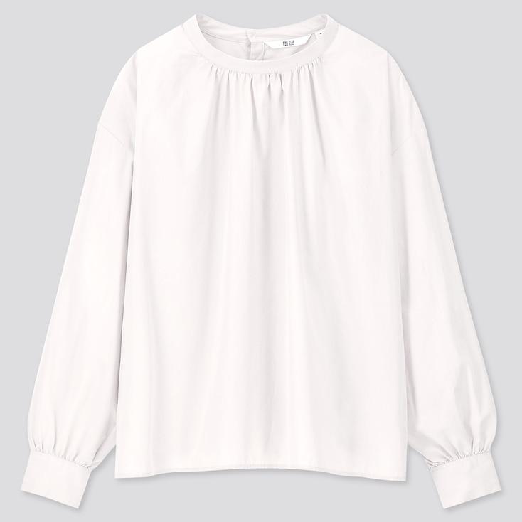 WOMEN COTTON HIGH-NECK GATHERED LONG-SLEEVE SHIRT, OFF WHITE, large