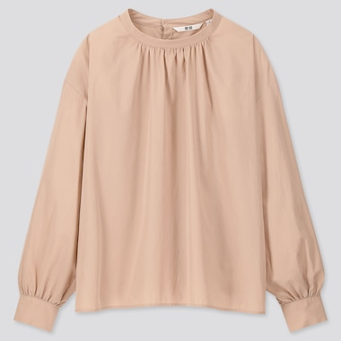 WOMEN COTTON HIGH NECK VOLUME LONG SLEEVED BLOUSE