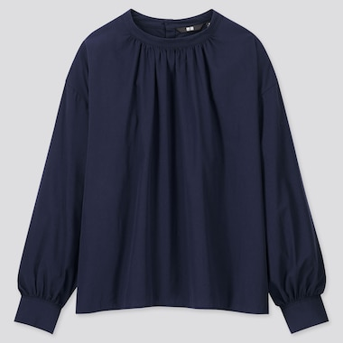 WOMEN COTTON HIGH-NECK GATHERED LONG-SLEEVE SHIRT, NAVY, medium