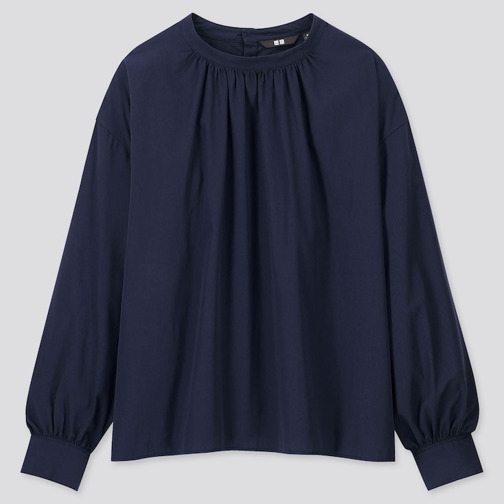 WOMEN COTTON HIGH-NECK GATHERED LONG-SLEEVE SHIRT, NAVY, large