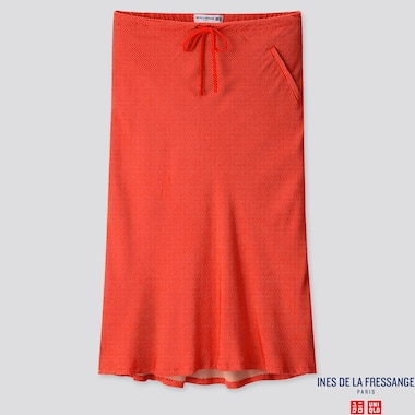 WOMEN RAYON FLARE MIDI SKIRT (INES DE LA FRESSANGE), ORANGE, medium