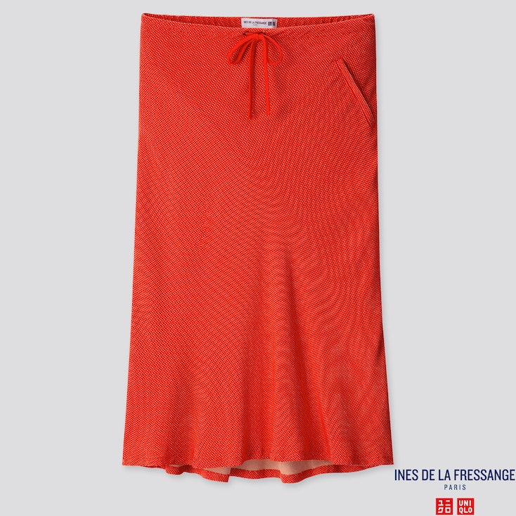 WOMEN RAYON FLARE MIDI SKIRT (INES DE LA FRESSANGE), ORANGE, large