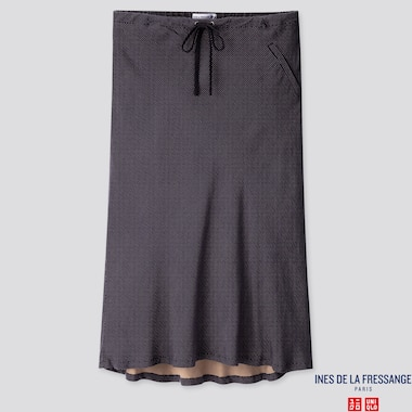 WOMEN RAYON FLARE MIDI SKIRT (INES DE LA FRESSANGE), BLUE, medium