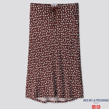 WOMEN RAYON FLARE MIDI SKIRT (INES DE LA FRESSANGE), WINE, medium