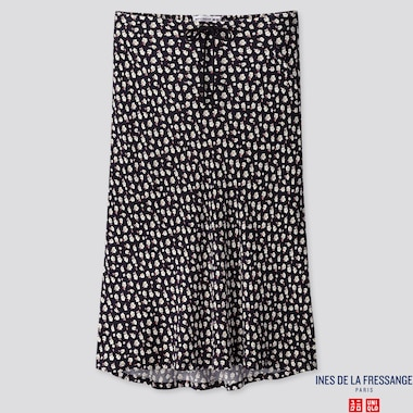 WOMEN RAYON FLARE MIDI SKIRT (INES DE LA FRESSANGE), NAVY, medium