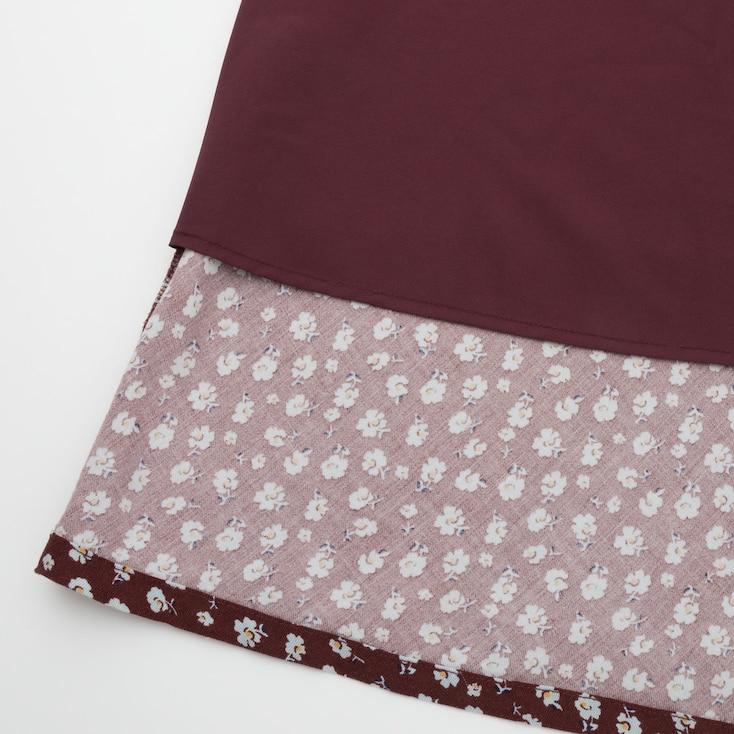 Women Rayon Flare Midi Skirt (Ines De La Fressange), Wine, Large