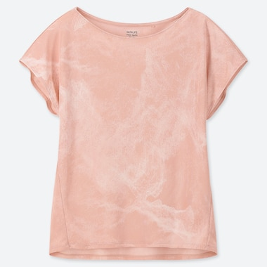 WOMEN DRY-EX PRINTED SHORT-SLEEVE CREW NECK T-SHIRT, PINK, medium