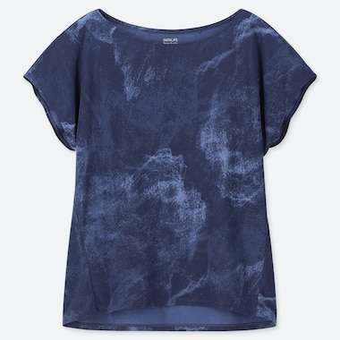 Women Dry-Ex Printed Short-Sleeve Crew Neck T-Shirt, Blue, Medium