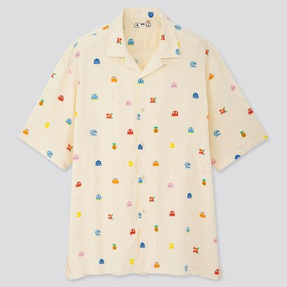 THE GAME CLASSIC PIXELS OPEN COLLAR SHORT-SLEEVE SHIRT