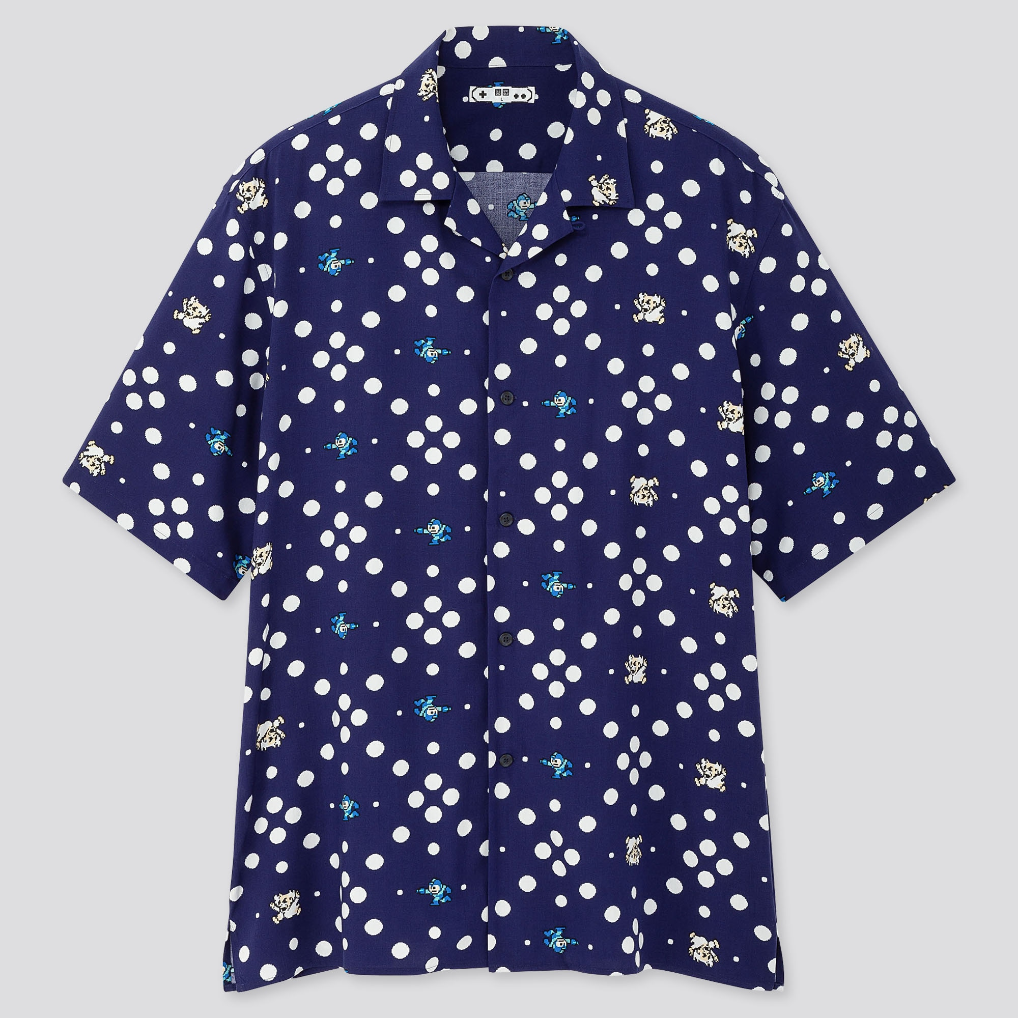Men The Game Pixels Open Collar Short Sleeve Shirt by Uniqlo