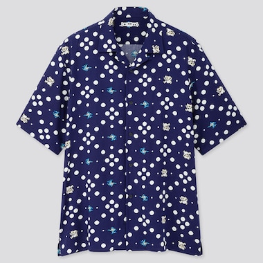 MEN THE GAME PIXELS OPEN COLLAR SHORT-SLEEVE SHIRT (ONLINE EXCLUSIVE), BLUE, medium