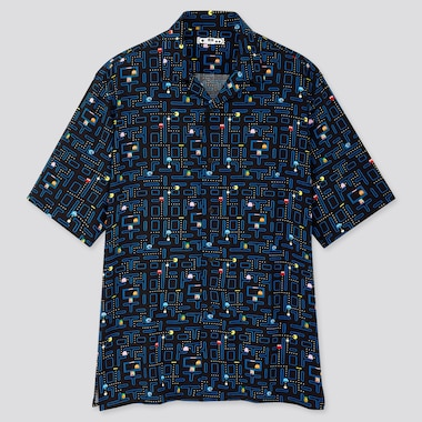 MEN THE GAME PIXELS OPEN COLLAR SHORT-SLEEVE SHIRT (ONLINE EXCLUSIVE), BLACK, medium