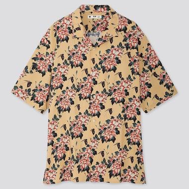 MEN EDO UKIYO-E OPEN COLLAR SHORT-SLEEVE SHIRT, YELLOW, medium