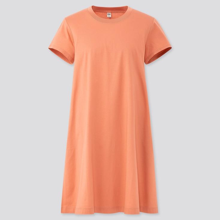 Women Mercerized Cotton A-Line Mini Dress, Light Orange, Large