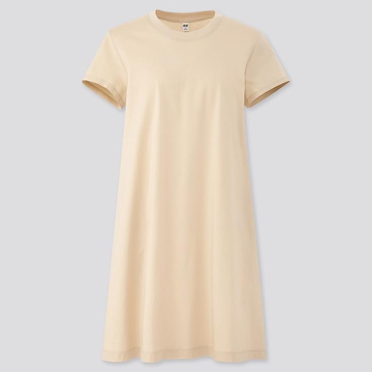 Women Mercerized Cotton A-Line Mini Dress, Natural, Large