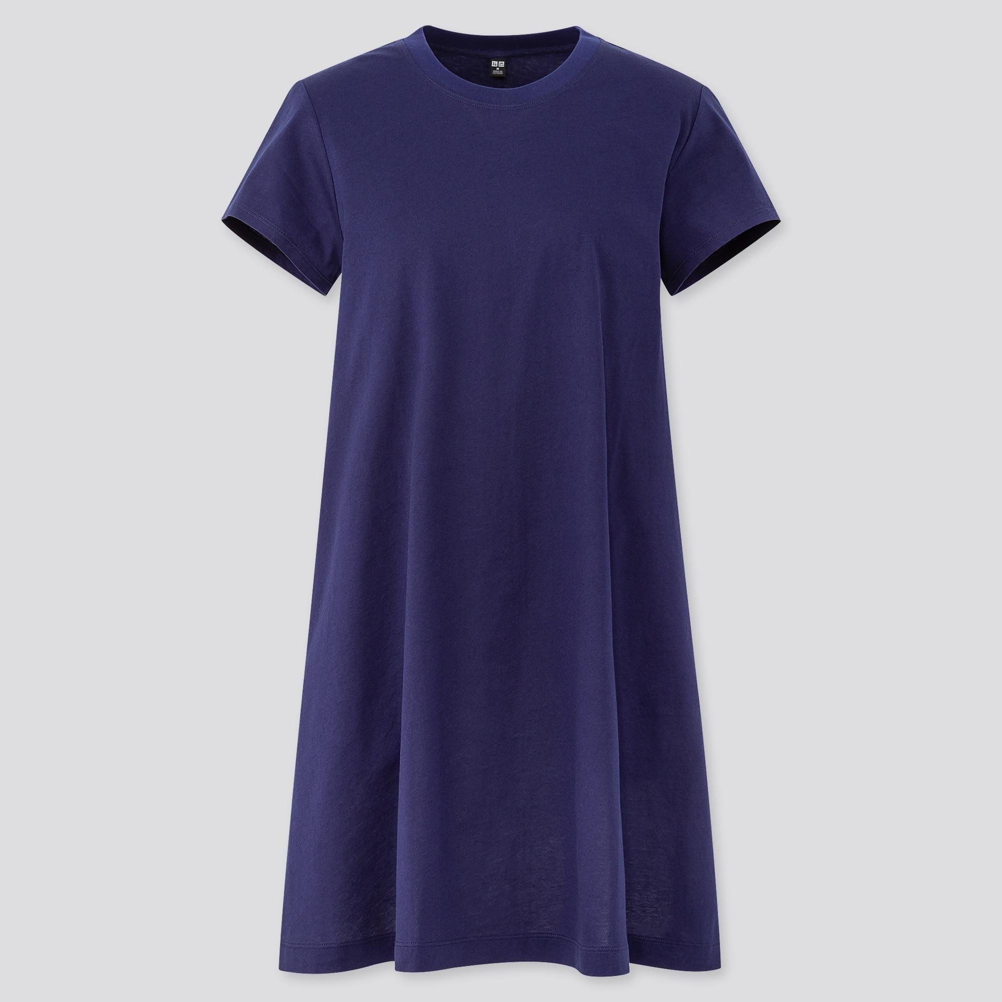 WOMEN MERCERIZED COTTON A-LINE MINI DRESS