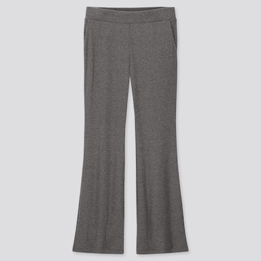 WOMEN RIBBED FLARE PANTS, DARK GRAY, medium