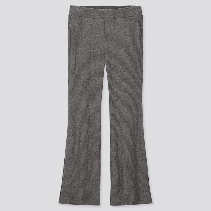 WOMEN RIBBED FLARE PANTS, DARK GRAY, large