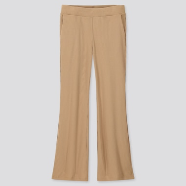 WOMEN RIBBED FLARE PANTS, BEIGE, medium