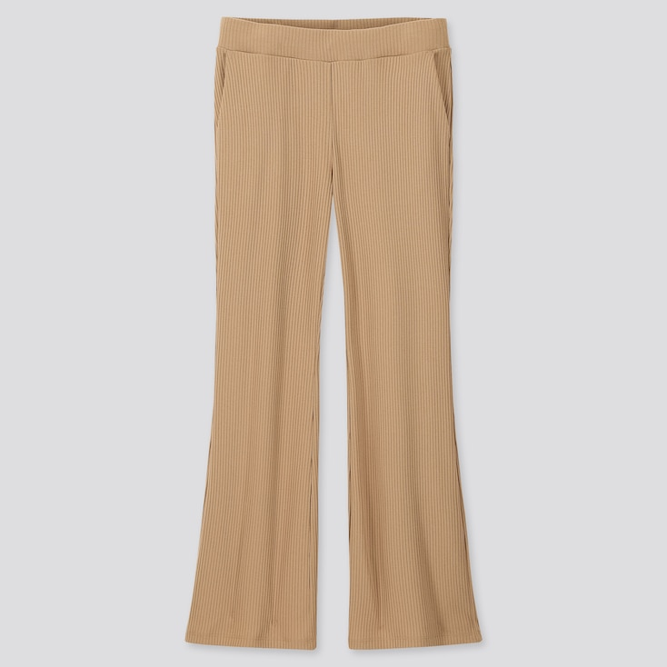 WOMEN RIBBED FLARE PANTS, BEIGE, large