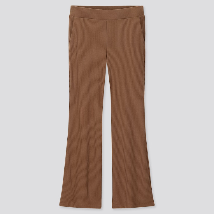 WOMEN RIBBED FLARE PANTS, BROWN, large