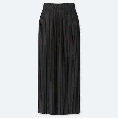 WOMEN PLEATED JERSEY LONG SKIRT, BLACK, medium