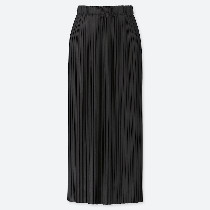 WOMEN PLEATED JERSEY LONG SKIRT, BLACK, large