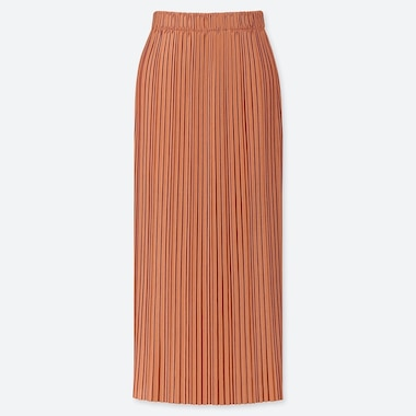 WOMEN PLEATED JERSEY LONG SKIRT, ORANGE, medium