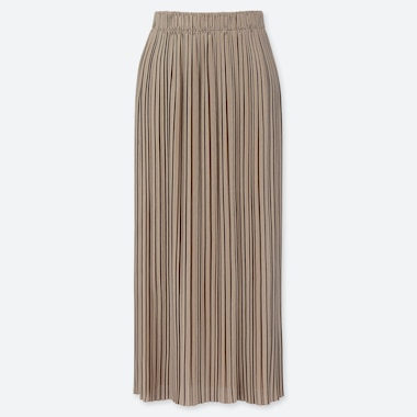 WOMEN PLEATED JERSEY LONG SKIRT, BEIGE, medium
