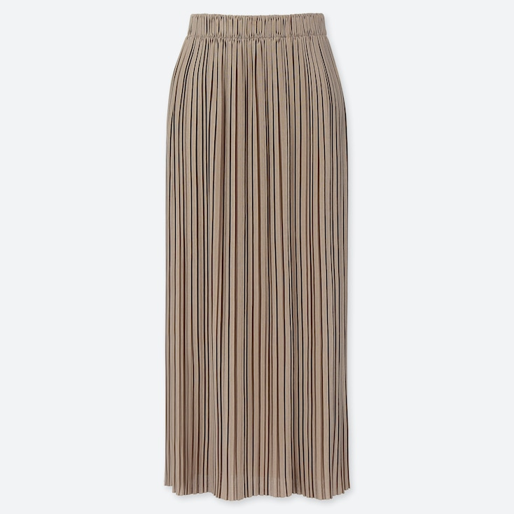 WOMEN PLEATED JERSEY LONG SKIRT, BEIGE, large