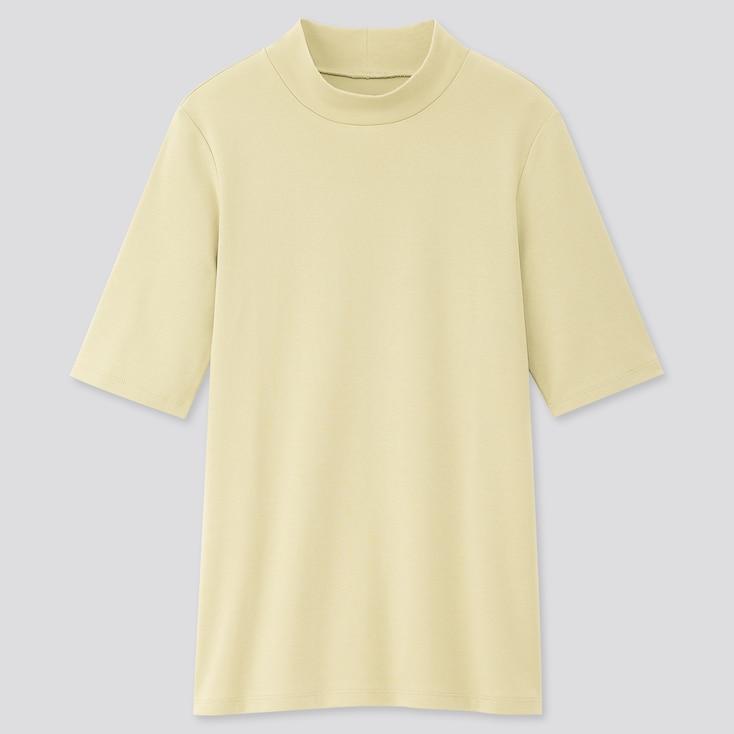 Women 1*1 Ribbed Cotton High-Neck Half-Sleeve T-Shirt, Light Green, Large