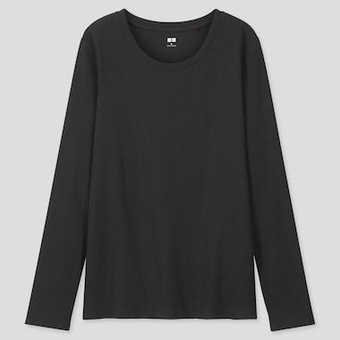 WOMEN 1*1 RIBBED COTTON CREW NECK LONG-SLEEVE T-SHIRT, BLACK, medium