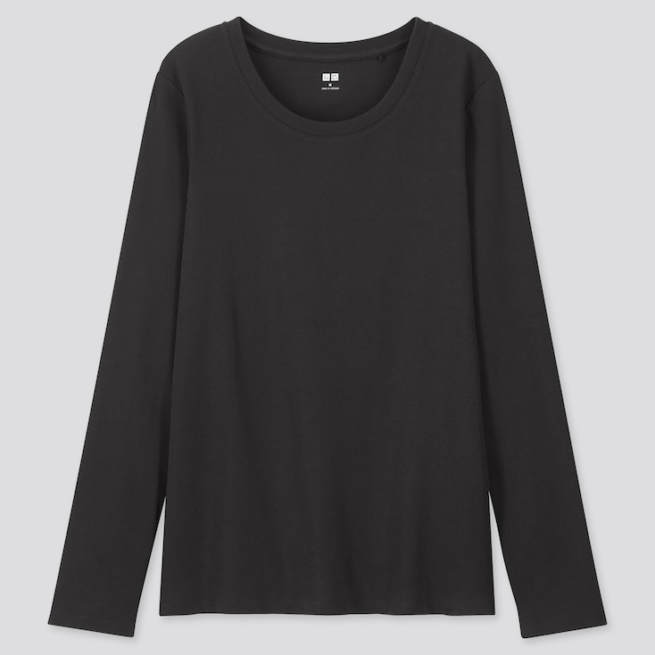 Women 1*1 Ribbed Cotton Crew Neck Long-Sleeve T-Shirt, Black, Large