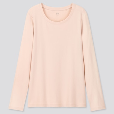 Women Ribbed Cotton Crew Neck Long Sleeved T-Shirt