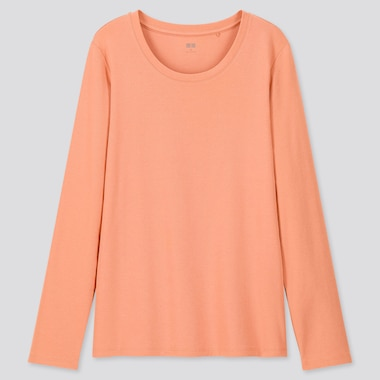 Women 1*1 Ribbed Cotton Crew Neck Long-Sleeve T-Shirt, Light Orange, Medium