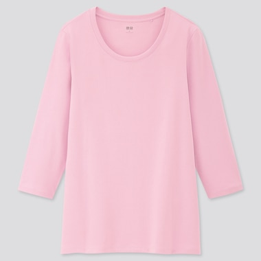 WOMEN RIBBED COTTON CREW NECK 3/4 SLEEVED T-SHIRT