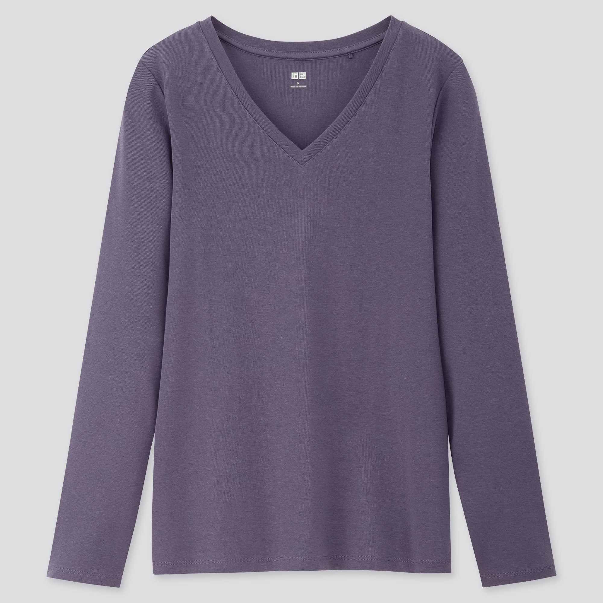Women Ribbed Cotton V Neck Long Sleeved T-Shirt