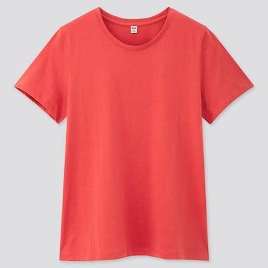 Women Supima© Cotton Crew Neck Short-Sleeve T-Shirt, Red, Medium