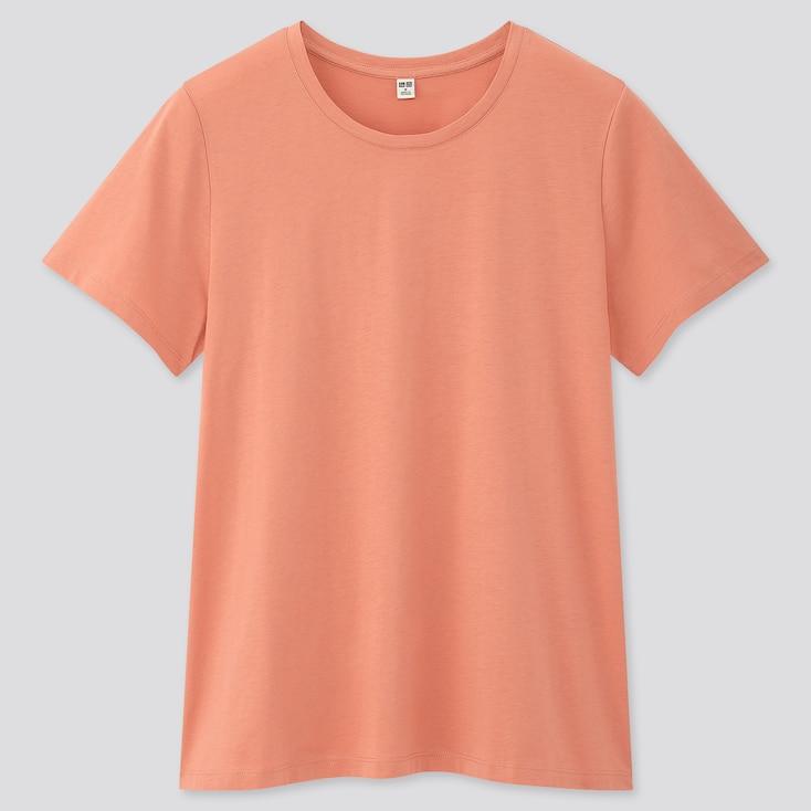 Women Supima© Cotton Crew Neck Short-Sleeve T-Shirt, Light Orange, Large