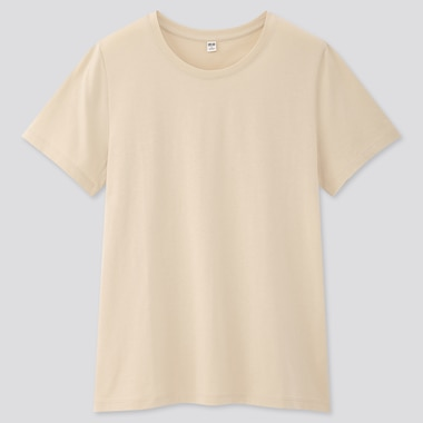 Women Supima® Cotton Crew Neck Short-Sleeve T-Shirt, Natural, Medium